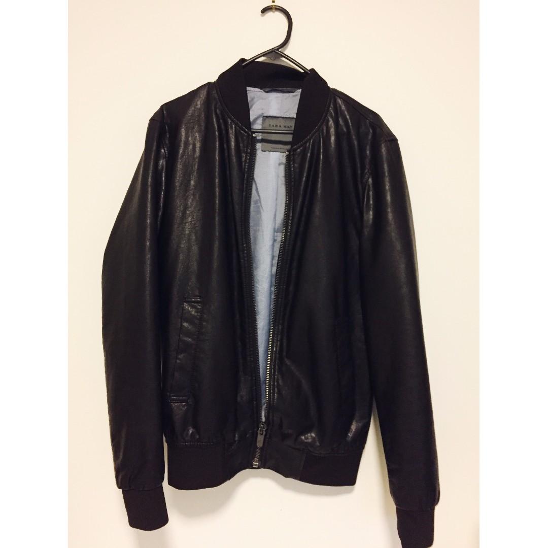 ZARA dark brown leather jacket Size S