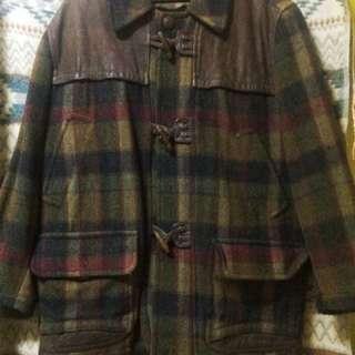 古著那種排扣羊毛衫格紋大衣