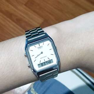 Casio Vintage AQ-230A-7D Silver Stainless Watch for Men and Women