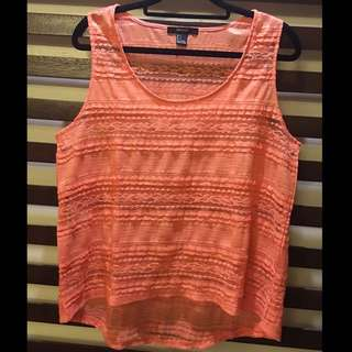 F21 Neon Orange Lacey Top