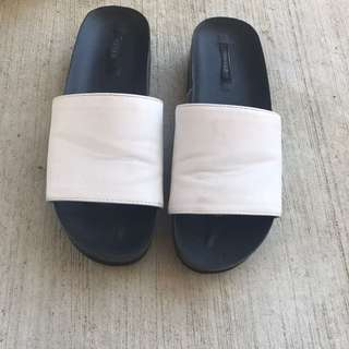 F21 Faux Leather Slides
