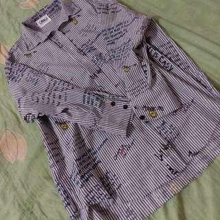 灰白條紋 塗鴉襯衫