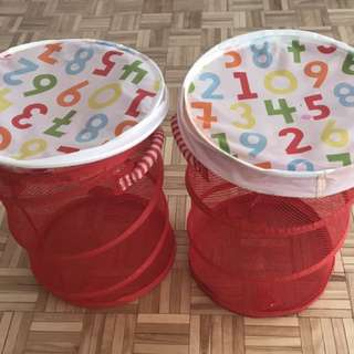 two red fabric laundry hamper for sale