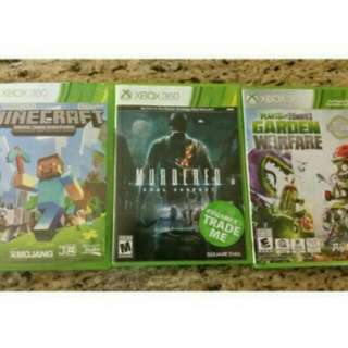 3 Xbox 360 Games.   Minecraft -20$ Plants Vs Zombies -20$ Murderd Soul Suspect -20$  If You Buy All 3 You Will Get 5$ Off