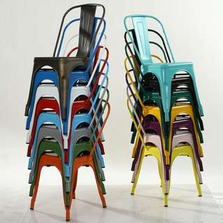 PO Industrial/ Loft Multi Color Dining Chair
