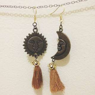 the sun and the moon tassels earrings