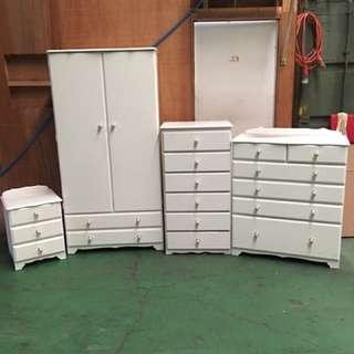 4pc Set Wardrobe Tallboy Drawers & Bedside Drawers