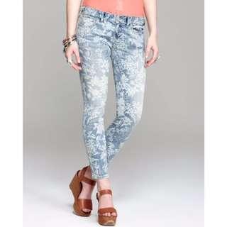 Free People Hawaiin Floral Skinny 7/8 Jeans