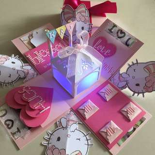 Hello Kitty Explosion Box With Name Initial Bunting , Lighthouse & 4 Personalized Photos