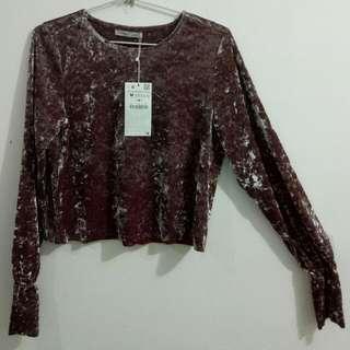 Zara #cropped Top (ngatung) #size M#Bahan Beludru, Lengan Terompet (new With Tag)