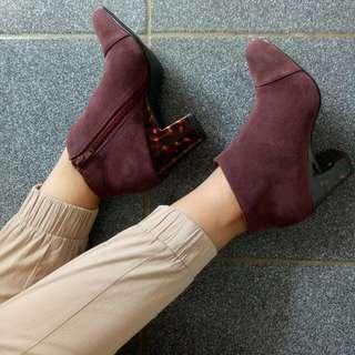 Maroon Leather Boot Brand New Repriced! Beli ketika di Jepang