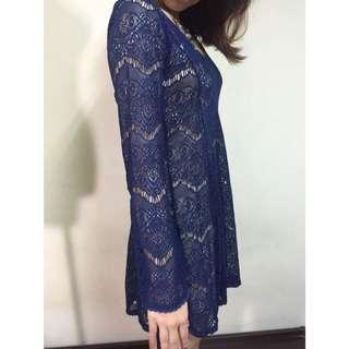 全新Zara睫毛蕾絲 貴族藍 蕾絲洋裝