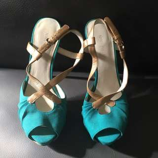 Nine West Teal & Gold stiletto Reduced Price