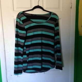 Blue, Grey And Black Striped Shirt