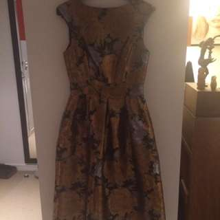 Gold Floral Dress Size 6