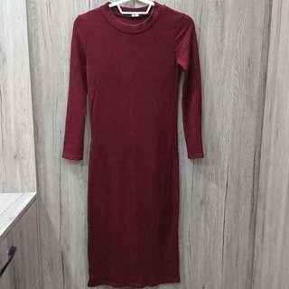 🍷酒紅色長裙洋裝