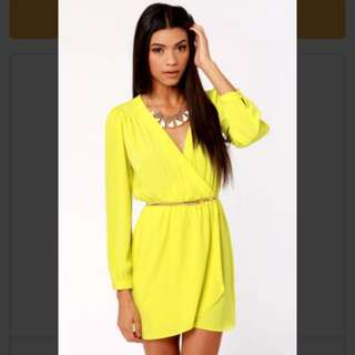 Bright Yellow Wrap Dress