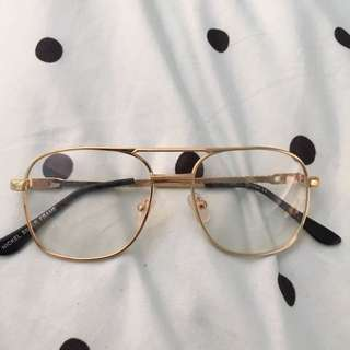 Gold Vintage retro Aviator Clear Lense Glasses