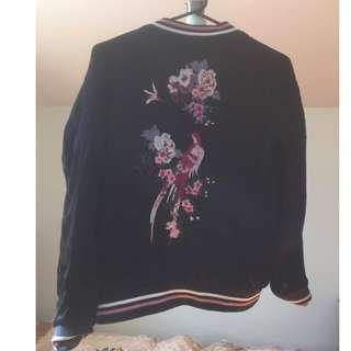Embroidered Black Bomber Jacket (Size S)