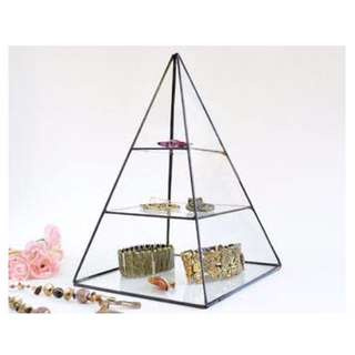 Glass triangular jewellery rack