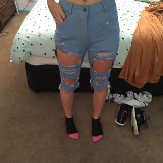 Longer Length Ripped Denim Look Jean Shorts