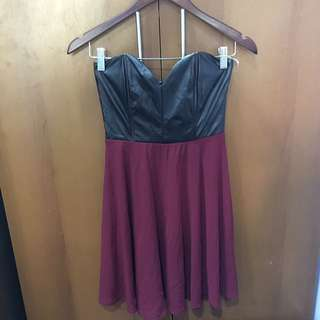 Strapless Leather Bodice Maroon Dress
