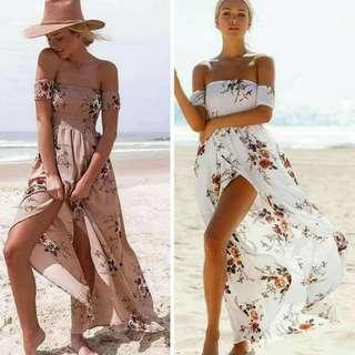 Off shoulder Boho maxi Dress