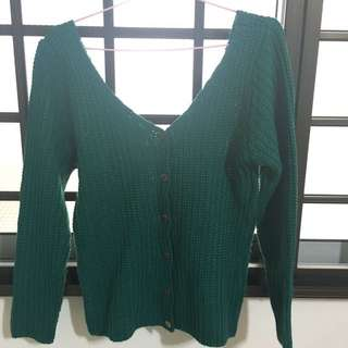 Green Crochet Reversible Sweater / Pullover