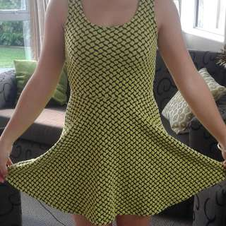 Black and yellow skater dress - criss cross design