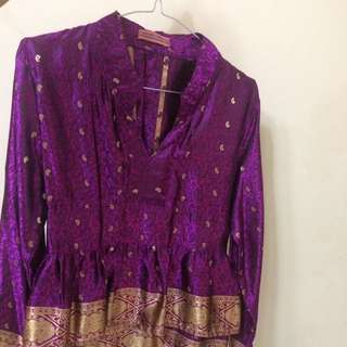 Purple Peplum Songket