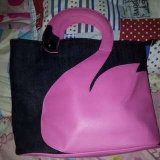 Swan Pink Denim Bag