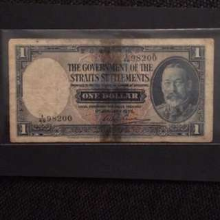 1935 1 Dollars Of Strait Settlements Banknote