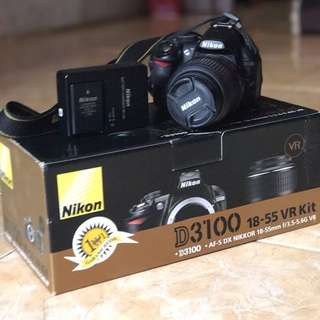 Kamera DSLR Nikon D3100 + Lensa 18-55mm VR Kit