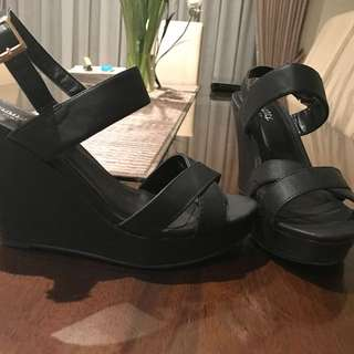 Plain Black Wedges