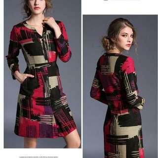 全新L號 復古時尚七分袖修身洋裝