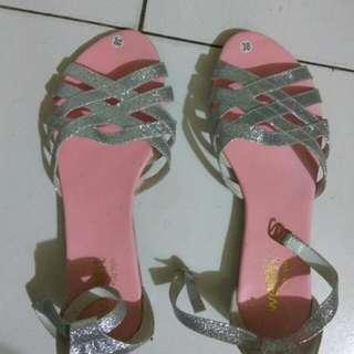 New Sepatu Sendal Pink Glitter