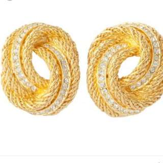 Christian Dior Earrings Knot Rope Gold