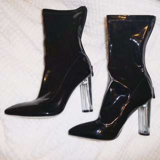 Black Patent Sock Boots With Clear Heels