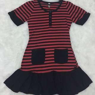 stripe peplum dress