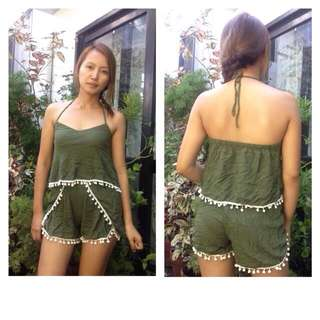 Army Green POMPOM Backless Top And Short