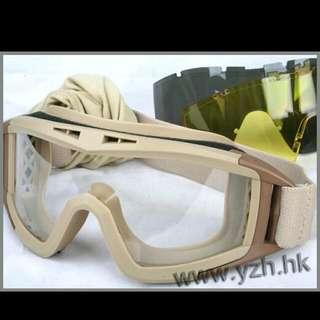 複刻版美軍ESS款戰術風鏡/護目鏡套裝組(3色鏡片+防塵套),可當雪鏡