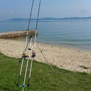 Telescopic Two Rod Fishing Tripod...
