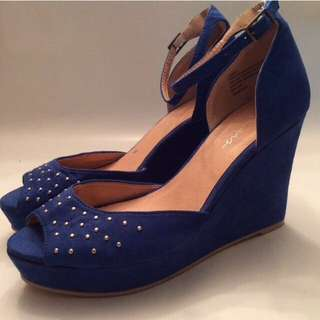 Blue Platform Wedges