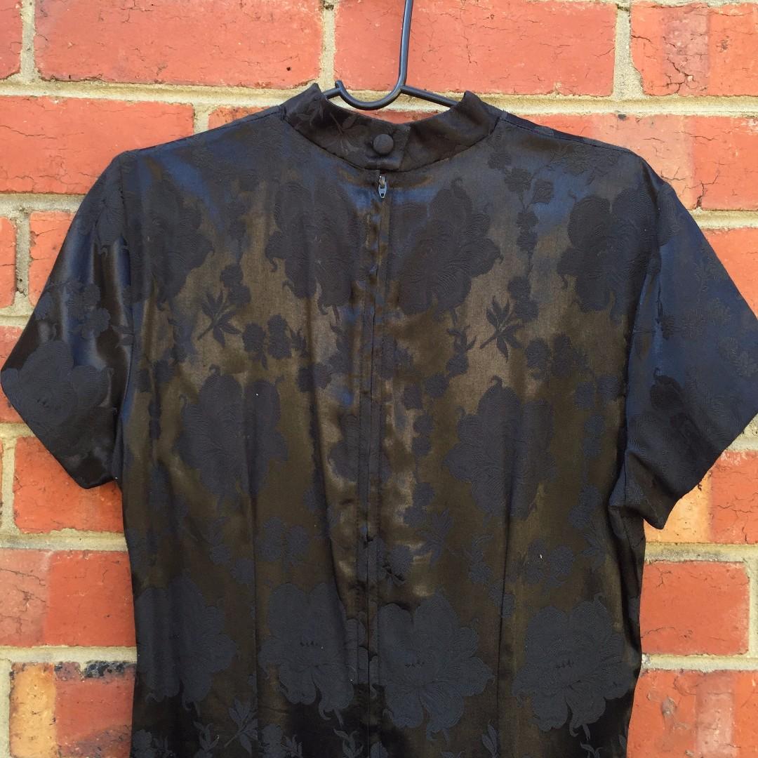 80S / 90S BLACK FLORAL CHEONGSAM MAXI DRESS