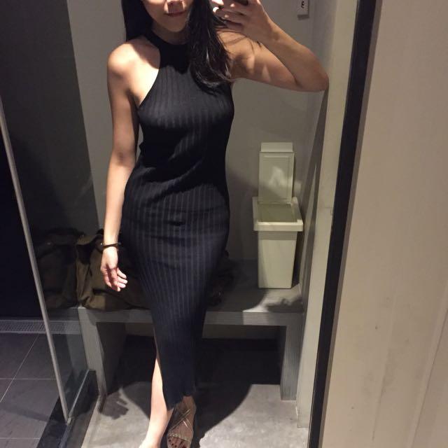 削肩開衩針織黑色洋裝
