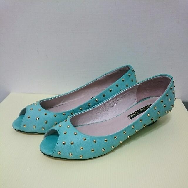 真皮藍綠色魚口高跟鞋