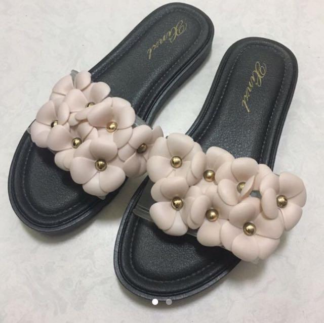 超美粉紅花防水拖鞋