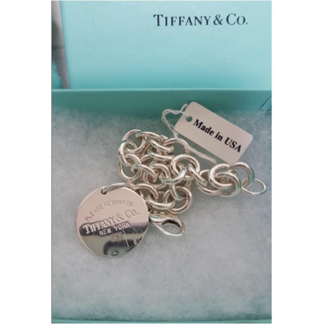 [正品] Tiffany & Co - 經典圓牌 925純銀手鍊