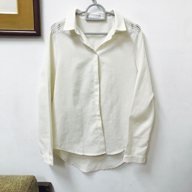 Airspace 米白鏤空前短後長襯衫 外套
