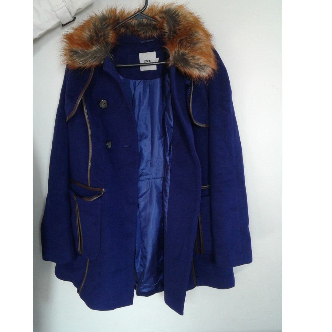 ASOS blue trench coat with fur collar, well looked after water proof lining